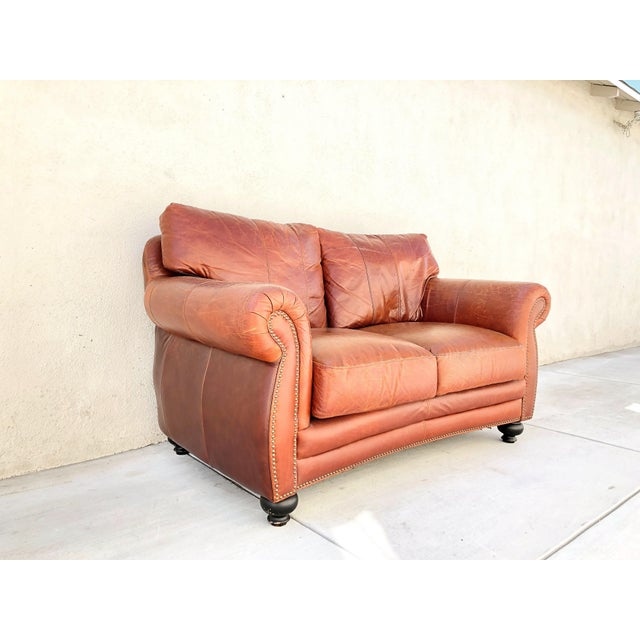 This wonderful Vintage Rapallo Italian Leather Sofa. It is original made of pure solid leather and high caliph. The sofa...