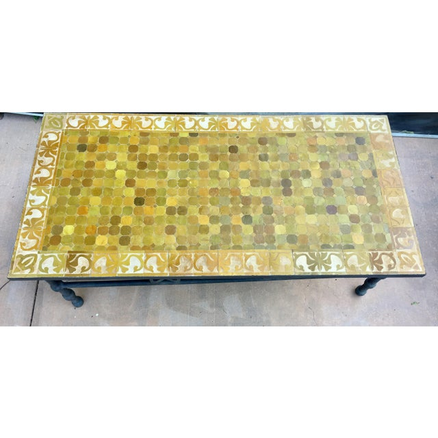 Yellow Moroccan Vintage Mosaic Brown Tile Rectangular Coffee Table For Sale - Image 8 of 12