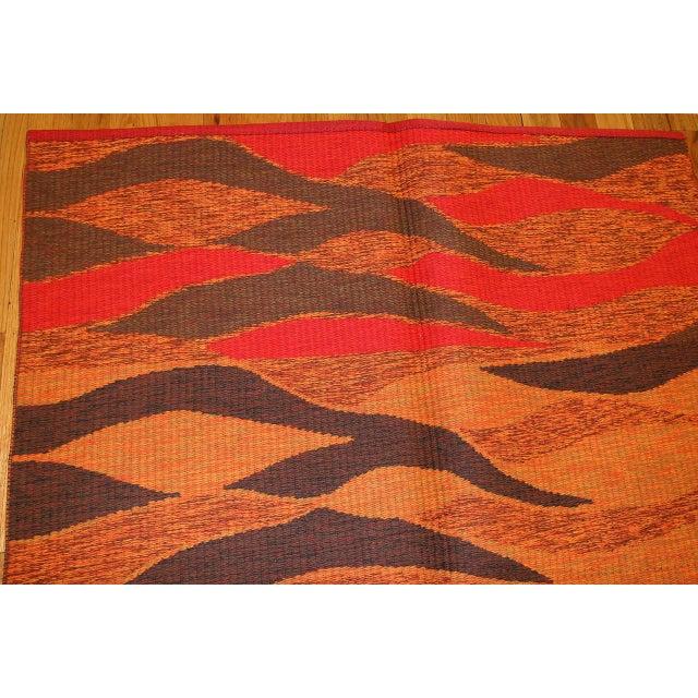 Orange Vintage Double-Sided Swedish Kilim Carpet For Sale - Image 8 of 10