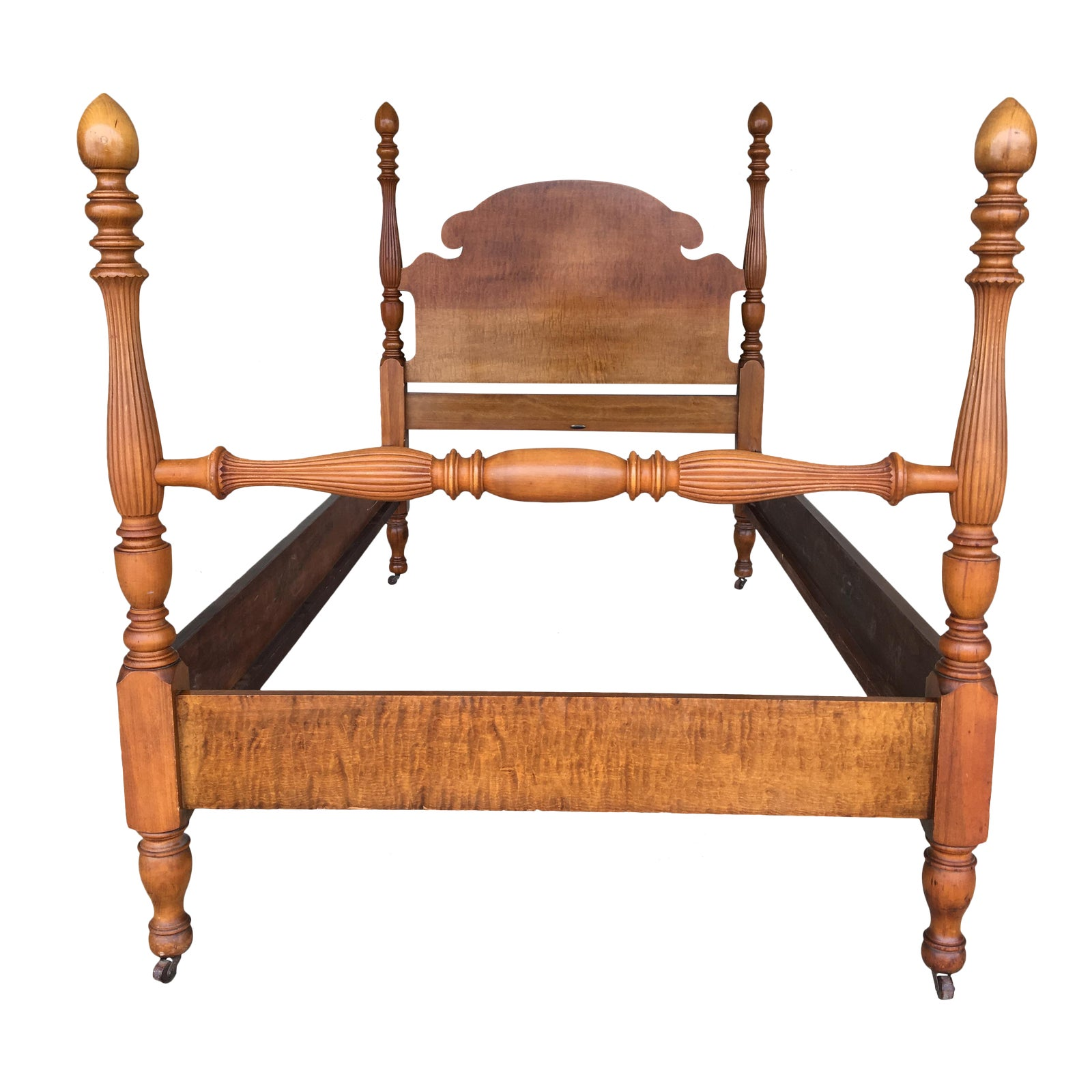Antique Tiger Maple Twin Single Acorn Poster Bed Chairish