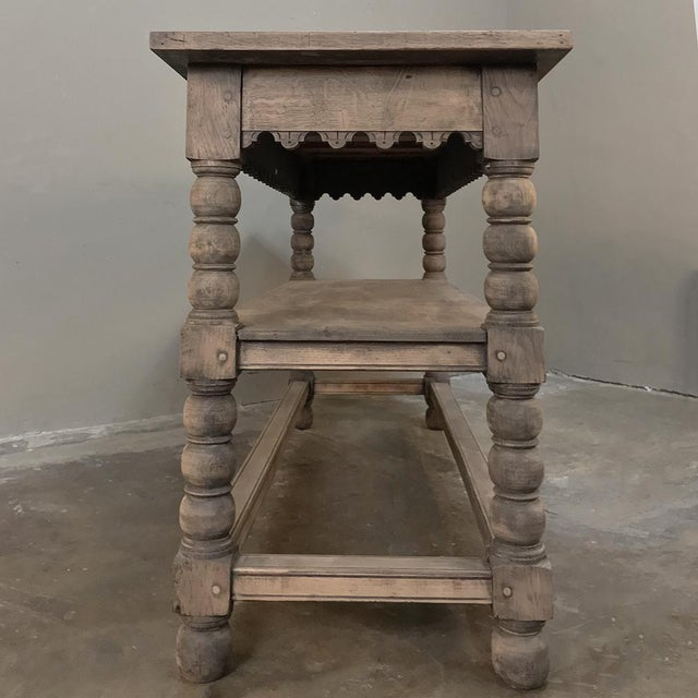 Oak Early 19th Century Rustic Renaissance Stripped Oak Counter For Sale - Image 7 of 13