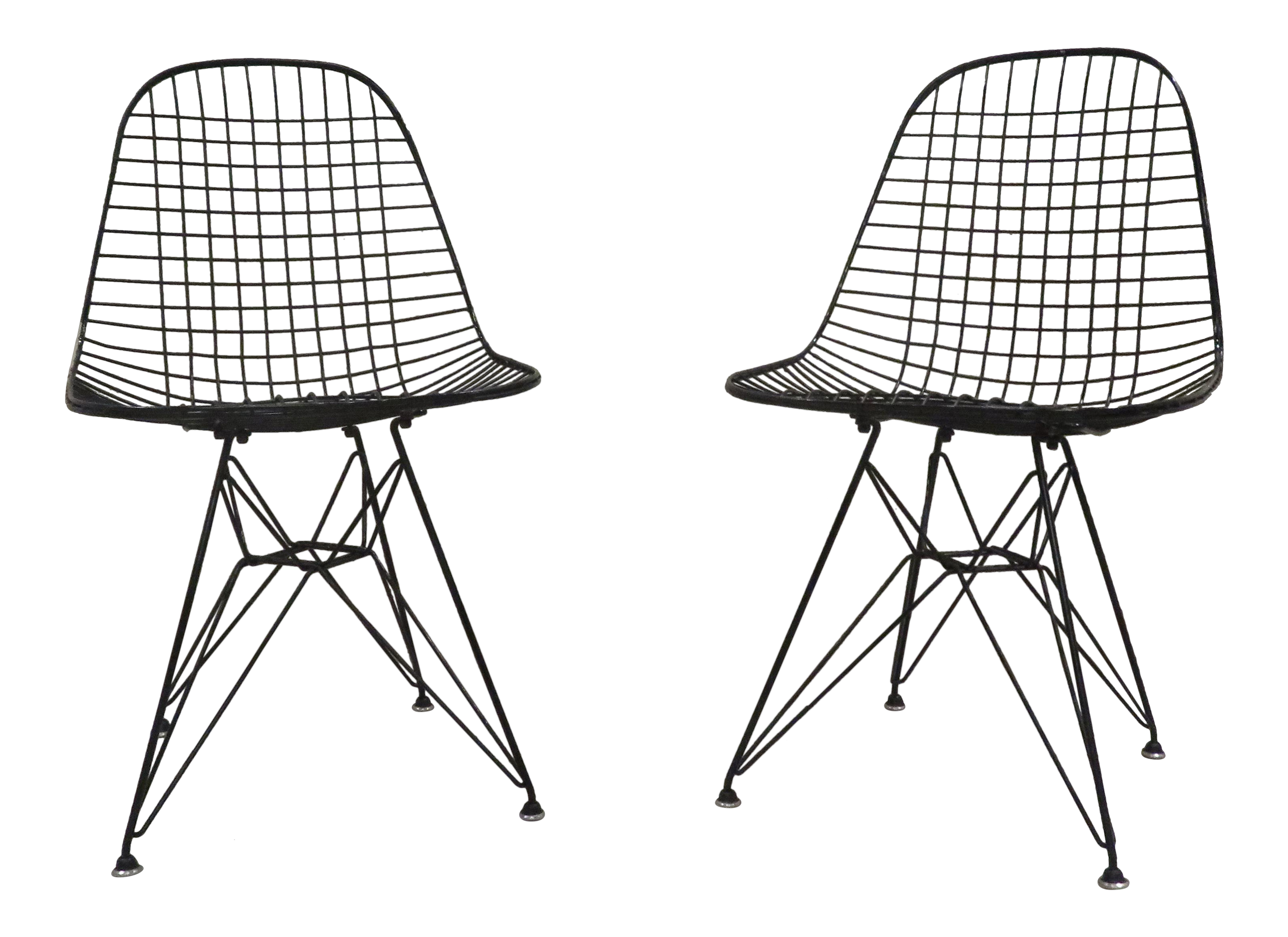 1950s eames for herman miller dkr black wire chairs a pair chairish 50s Style Picnic