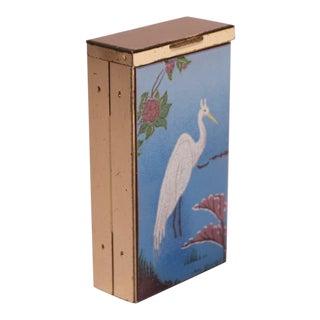 "Mid-Century Modern Enamel and Brass ""Egret"" Cigarette Holder / Trinket Box For Sale"