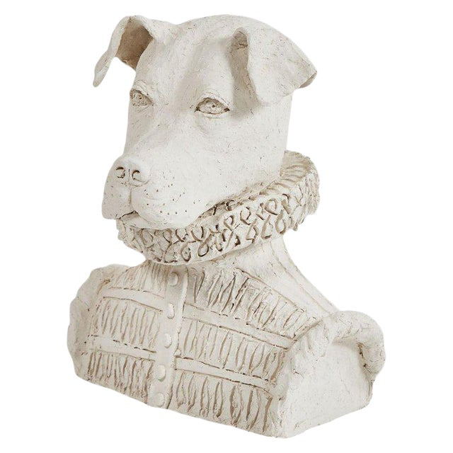 Dog Sculpture in Plaster For Sale