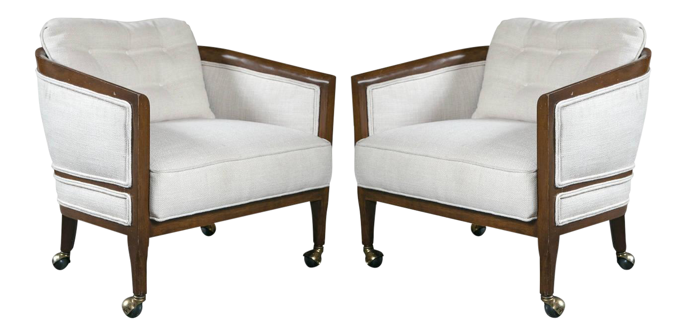 Mid Century Club Chairs On Casters   A Pair For Sale