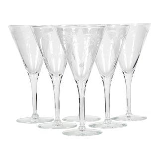 Art Deco Etched Tall Wine Stems, Set of 6 For Sale