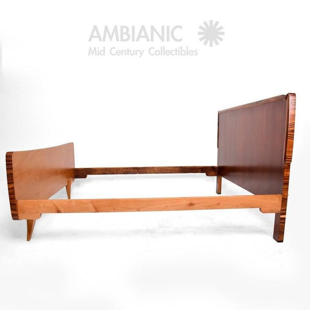 For your consideration a Mid-Century Modern Italian bed frame. Beautiful combination and selection of exotic woods....