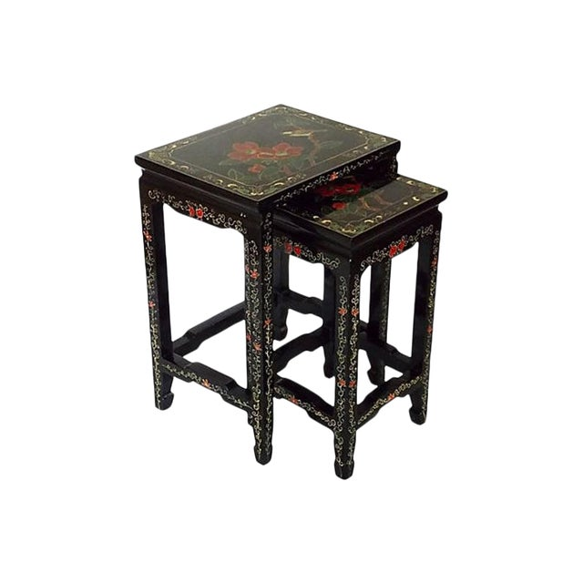 1970s Asian Lacquered Nesting Tables - a Pair For Sale