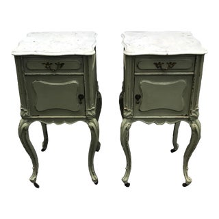 Antique Carved Wood Marble Top Rococo / Baroque Nightstands - a Pair For Sale