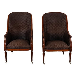 Horsehair Upholstered Dining Chairs- A Pair For Sale