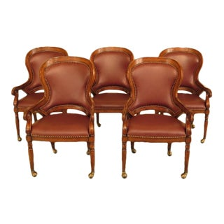 English Style Leather Arm Pub Chairs on Casters - Set of 5