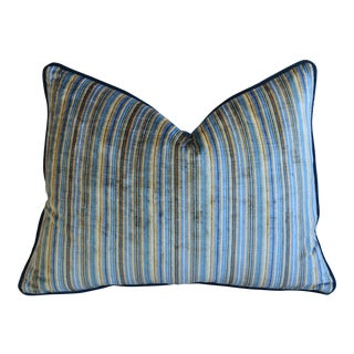 "Brunschwig & Fils Blue & Gold Striped Velvet Feather/Down Pillow 24"" X 18"" For Sale"