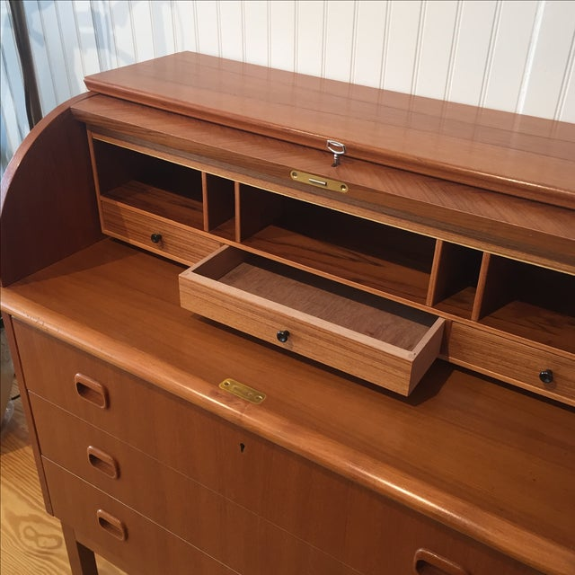 1960s Swedish Modern Roll Top Teak Secretary - Image 5 of 11