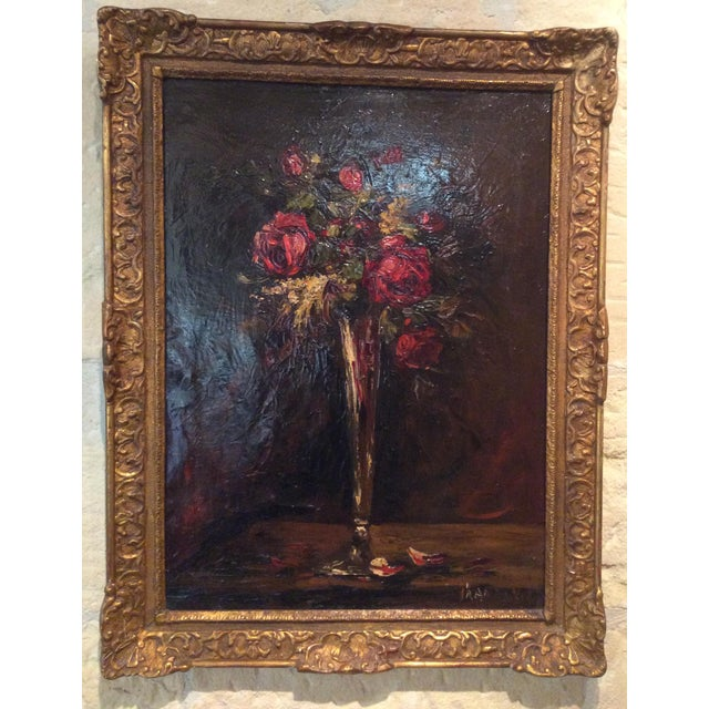 1900s Pair of 1900s Original French Floral Still Life Paintings by Charles Franzini D'Issoncourt For Sale - Image 5 of 12