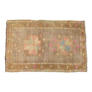 Hand Knotted Mat Small Oushak Rug. Muted Colors Turkish Petite Rug - 2' X 3' For Sale