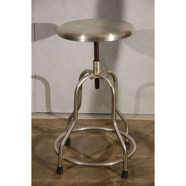 Industrial Vintage Stool With Adjustable Seat For Sale - Image 3 of 8