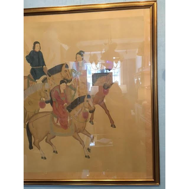 Silk Large Chinese Painting on Silk, Women on Horseback For Sale - Image 7 of 12