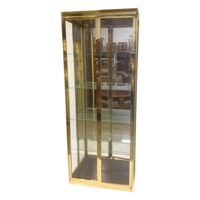 1980's Style Brass and Glass Cabinet - Image 1 of 8