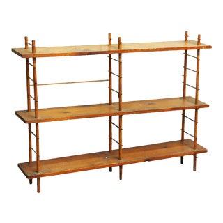 Restorable Three Tier Pine Wood Shelf For Sale