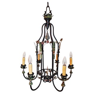 Antique Wrought Iron Chandelier For Sale