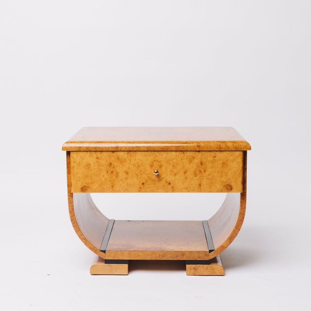 Burl Wood 70's Deco Inspired Nightstands -Pair For Sale - Image 5 of 7