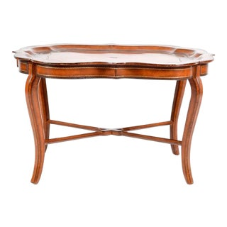 Italian Leather Tray on Stand For Sale