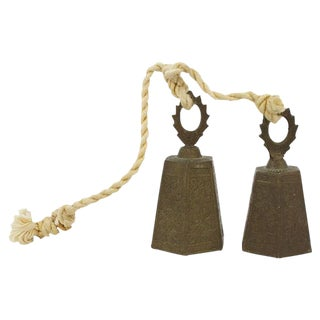 Engraved Brass Bells - a Pair For Sale