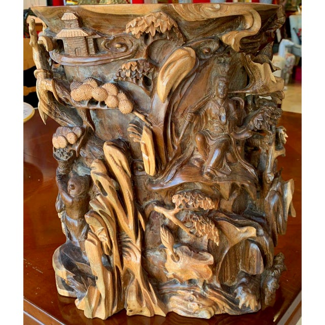 Chinese Immortals Carved Elm Brush Pot For Sale - Image 4 of 11