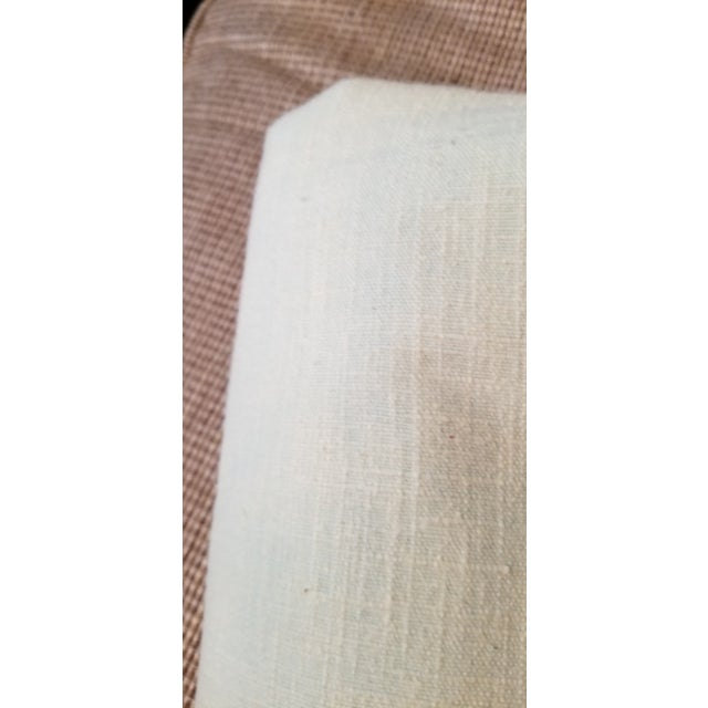 Pale Green Linen Vintage Fabric For Sale In Miami - Image 6 of 9