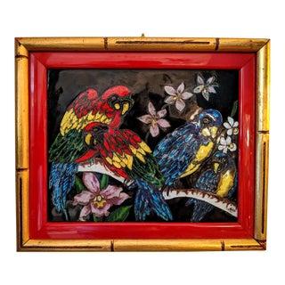 Meryn, Hand-Made Enamel Artwork, Framed Panel, Parrots and Lavender Orchids, Vintage For Sale