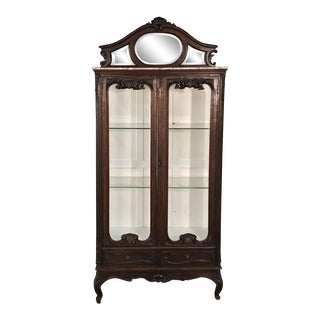 19th Century French Louis XV Marble Top Vitrine For Sale
