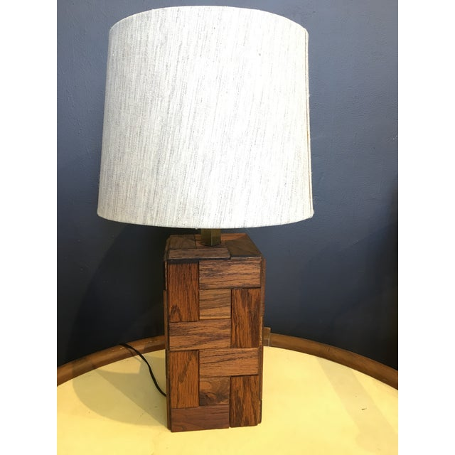 Mid-Century Hand Crafted Wood Table Lamp For Sale - Image 4 of 10