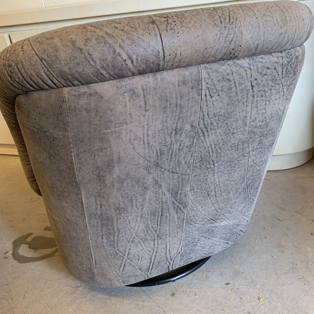 Kagan Style Leather Swivel Rocker Chairs - a Pair For Sale - Image 11 of 13
