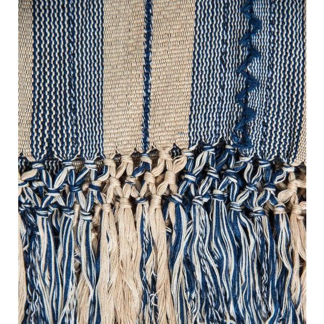 Indigo & Ecru Handwoven Blanket - Image 2 of 4