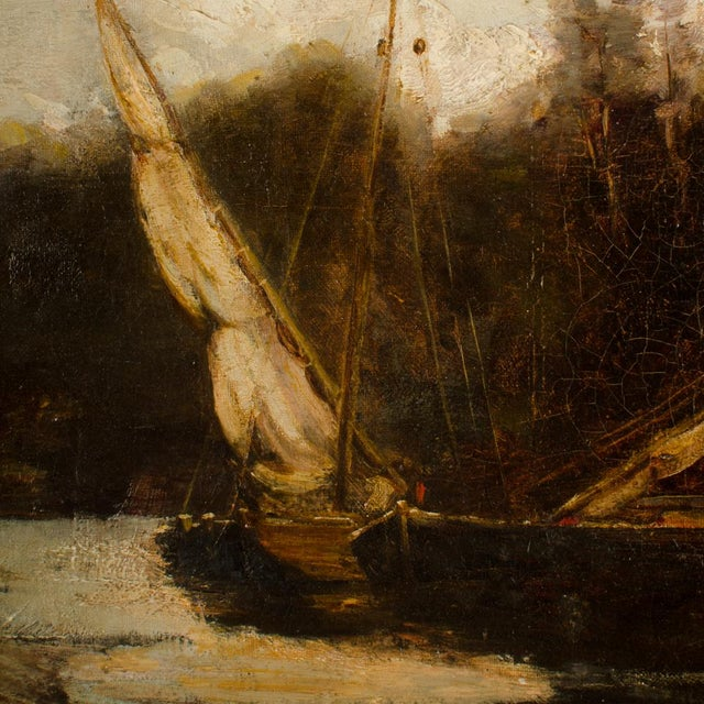 "Late 19th Century ""On the Canal"" Coastal Oil Painting For Sale - Image 10 of 13"