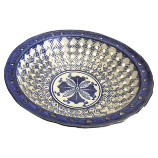 Vintage Blue & White Porcelain Pierced Reticulated Fruit Bowl For Sale