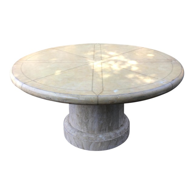 Maitland-Smith Round Leather Top Dining Table For Sale