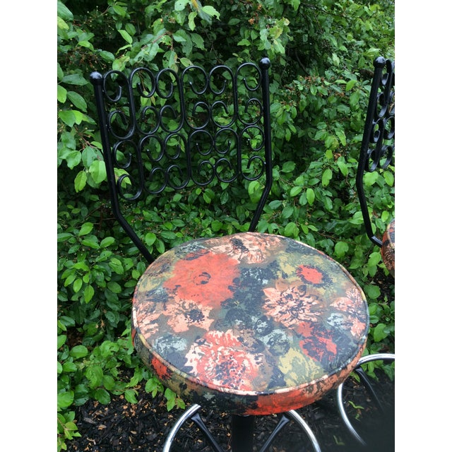 Arthur Umanoff Wrought Iron Swivel Bar Stools - A Pair For Sale In Boston - Image 6 of 9