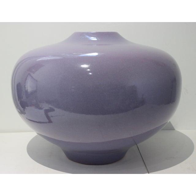 Vintage Artisan Vase Glazed Earthenware Lavender Coloration For Sale - Image 11 of 11