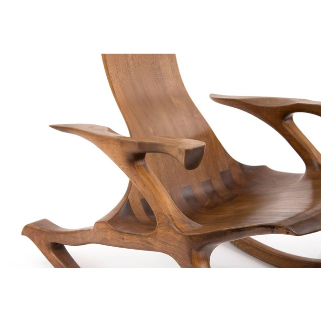 Mid-Century Modern 1980s Solid Walnut Studio Crafted Rocking Chair For Sale - Image 3 of 7