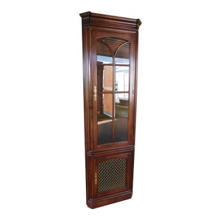 "Statton Oldtowne Cherry Chippendale Style 2 Door Lighted Corner Cabinet ""A"" For Sale"