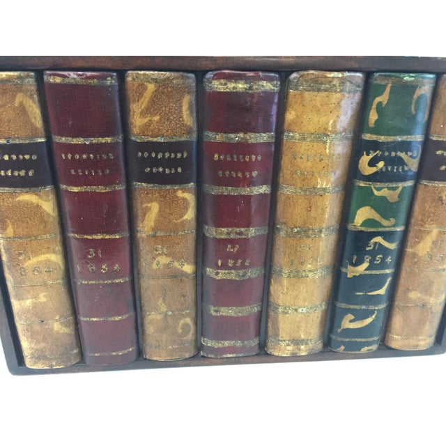 """Faux leather book panel by Maitland Smith. Excellent condition. Measures 13.75 wide x 8.75"""" tall. Has hinged sides that..."""