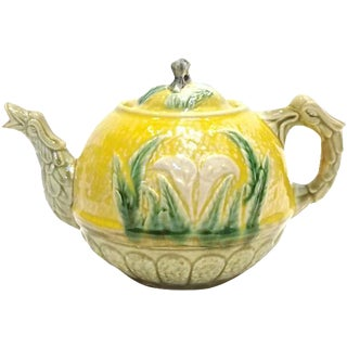 Antique Majolica Calla Lily & Dragon Teapot For Sale