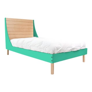 Nico & Yeye Minimo Full Panel Bed Solid Maple Wood and Veneers Natural Maple and Mint For Sale