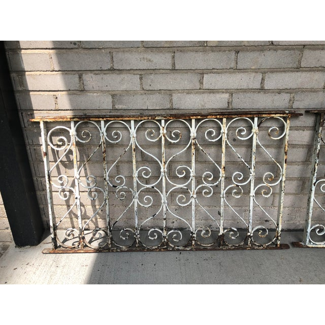 Victorian 19th Century Victorian Wrought Iron Balustrade Sections - a Pair For Sale - Image 3 of 13