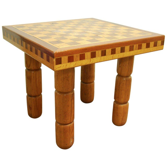 Postmodern Oak and Walnut Inlay End Table, Circa 1980 For Sale - Image 11 of 11