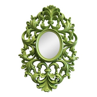 Ornate Lime Green Scroll Mirror