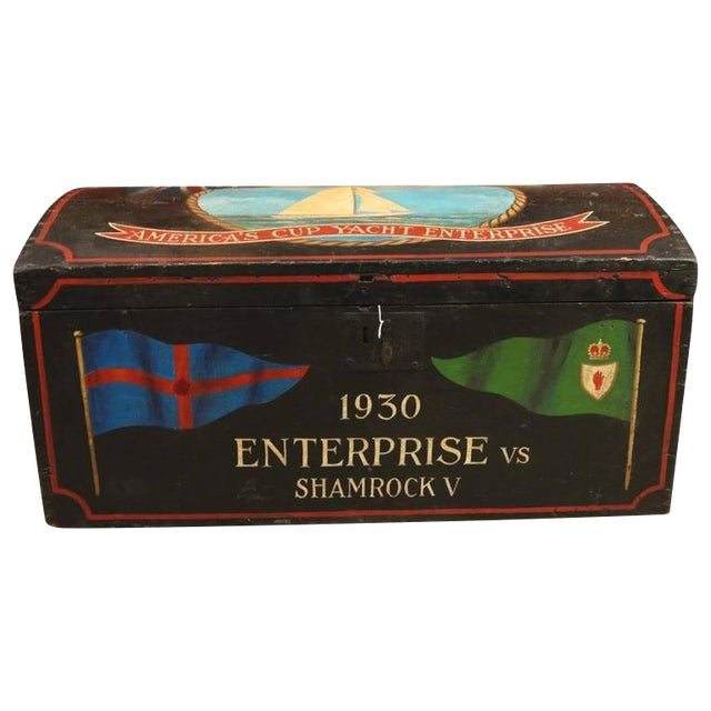 Painted Sea Chest With Dome Top For Sale