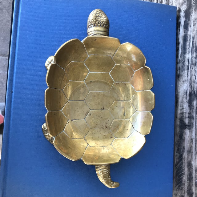 Large Vintage Solid Brass Turtle Catchall Tray Trinket Dish For Sale - Image 4 of 10