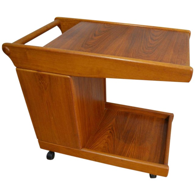 Mid-Century Teak Tea Bar Cart on Wheels - Image 1 of 10